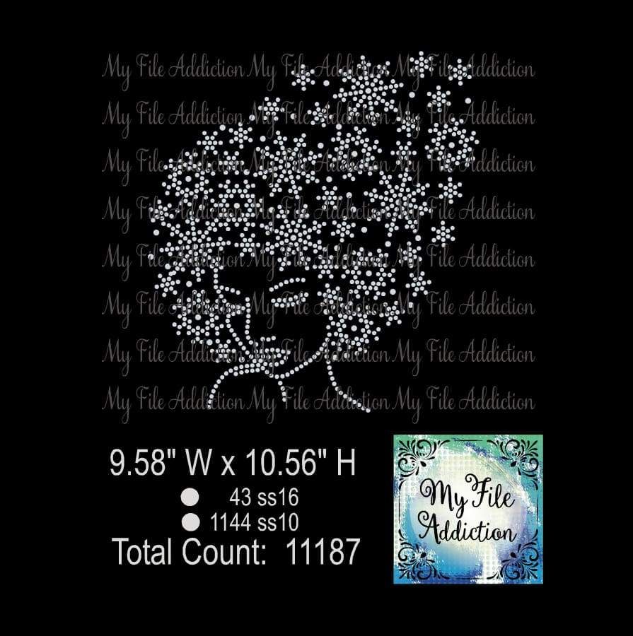 Snow Queen 2 Afro Snowflake Rhinestone Digital Download File - My File Addiction