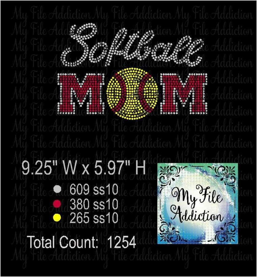 Softball Mom Rhinestone Digital Download File - My File Addiction