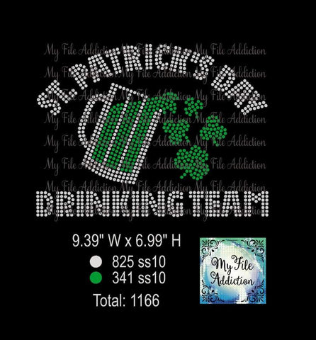 St Patrick's Day Drinking Team 2 Rhinestone Digital Download File - My File Addiction