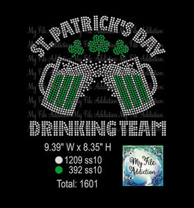 St Patrick's Day Drinking Team 5 Rhinestone Digital Download File - My File Addiction