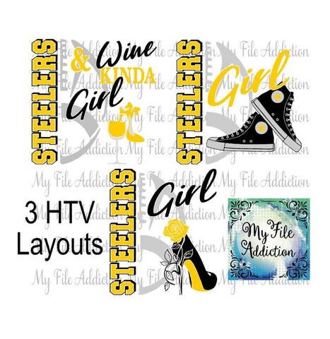 Steelers Football High Tops Rose Wine High Heel Shoe Vector Digital Download File - My File Addiction
