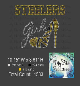Steelers Girl With Shoe Rhinestone Digital Download File - My File Addiction