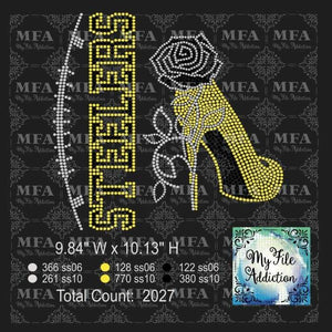 Steelers Rose Stiletto High Heel Shoe Yellow Rhinestone Digital Download File - My File Addiction