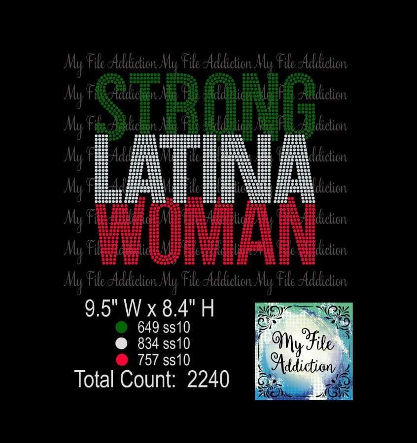 Strong Latina Woman Rhinestone Digital Download File - My File Addiction