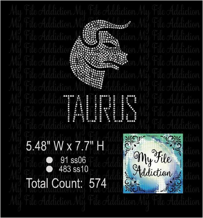 Taurus Zodiac Rhinestone Digital Download File - My File Addiction