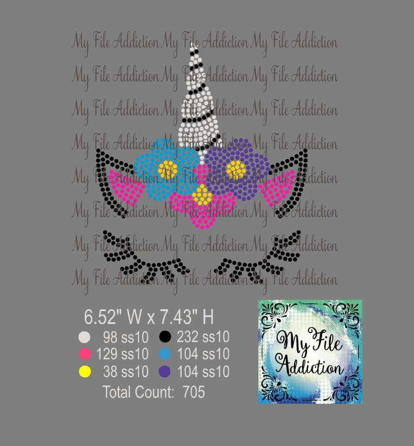 Unicorn with Flowers Rhinestone Digital Download File - My File Addiction