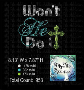 Won't He Do It Rhinestone Digital Download File - My File Addiction