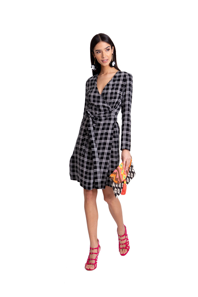 Just Drew Black And White Plaid Wrap Dress