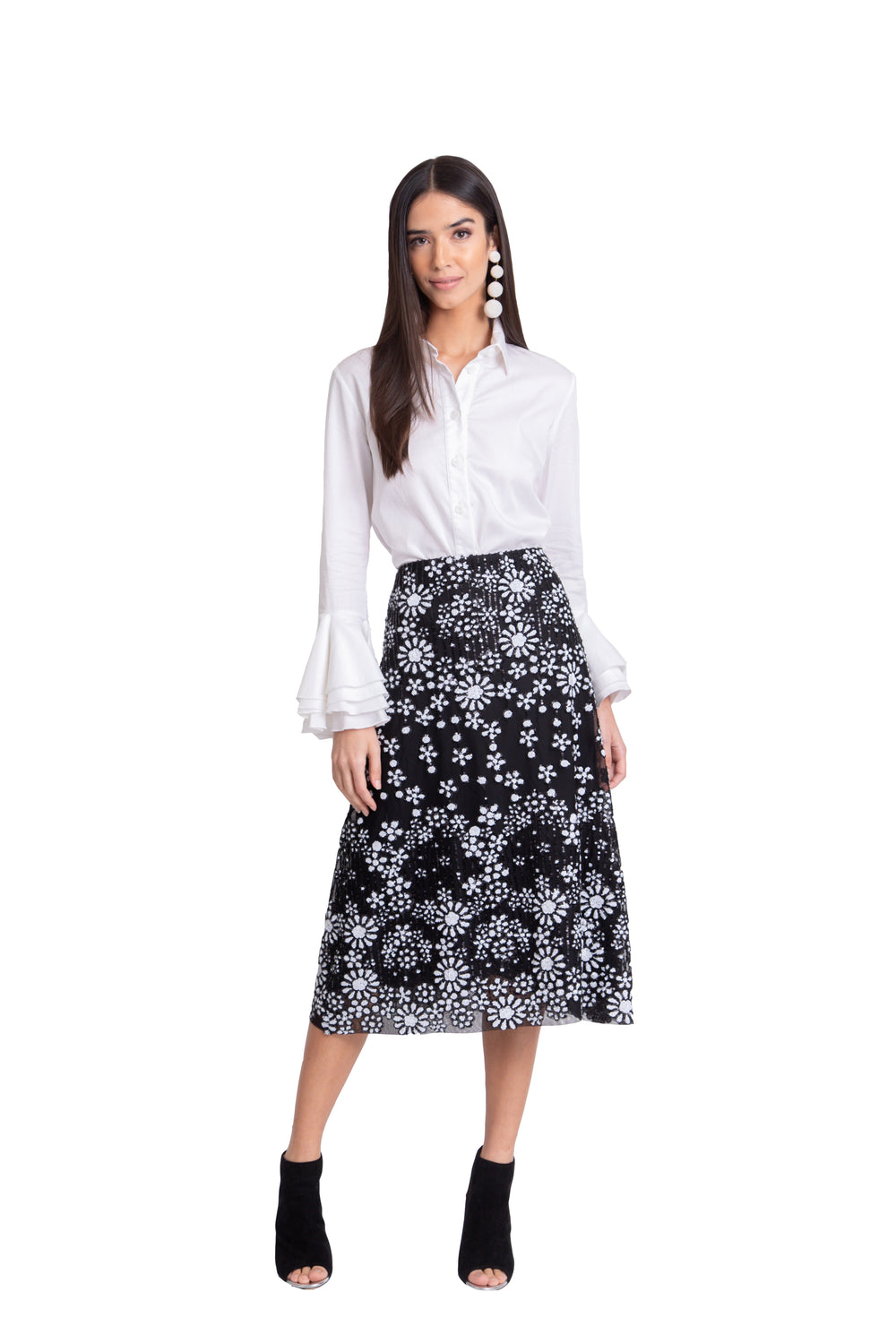 Just Drew Black And White Beaded Floral Midi Skirt