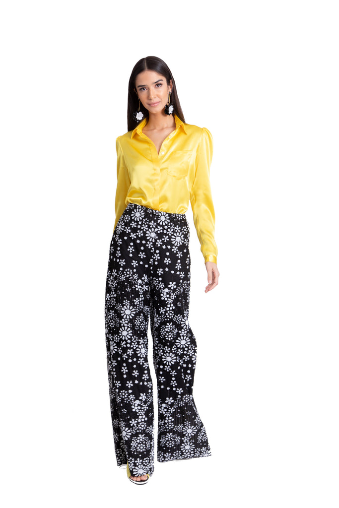 Floral Beaded Pant With Side Slits