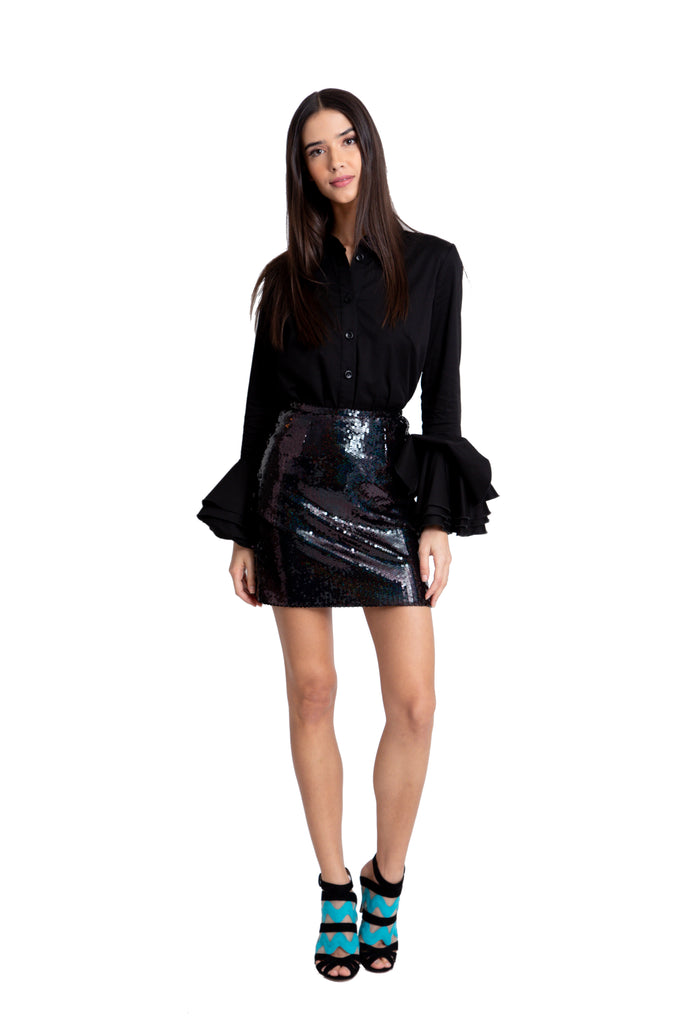 Black Holographic Sequin Skirt