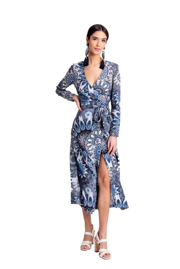 Just Drew Blue Printed Wrap Dress