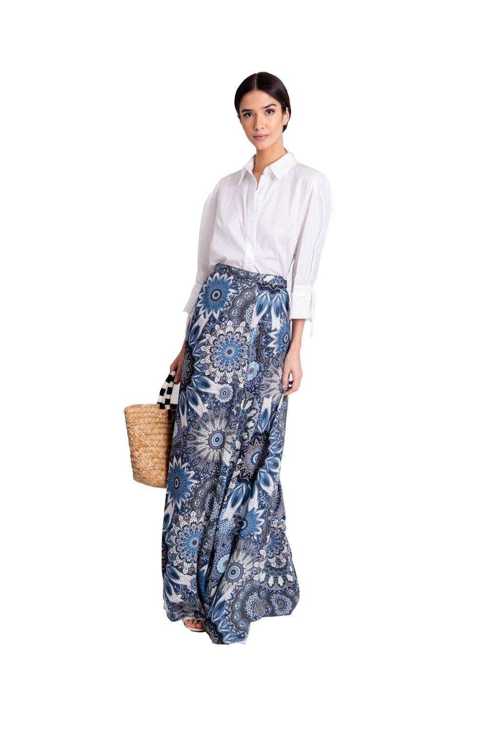 Just Drew Blue Print Maxi Wrap Skirt