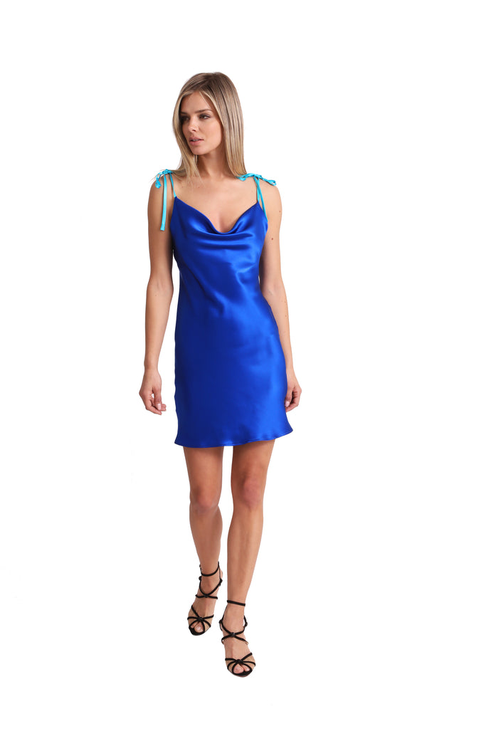Just Drew Two-Tone Cowl Neck Silk Slip Dress in Royal Blue