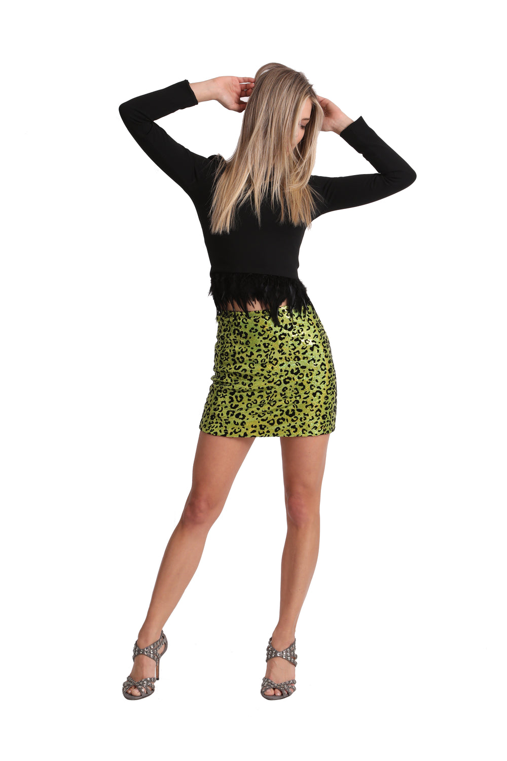 Just Drew Green Leopard Sequin Mini Skirt