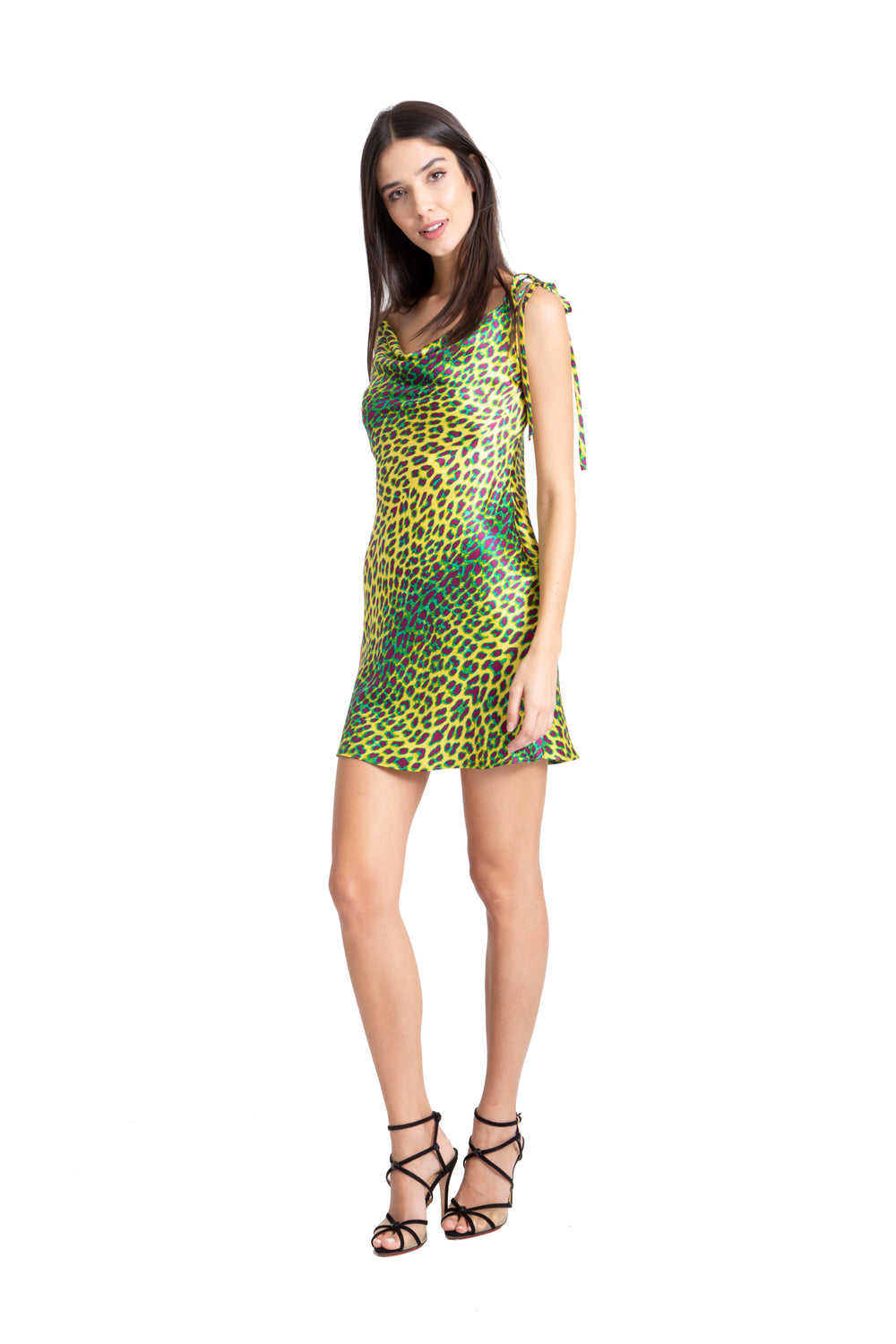 Just Drew Green Leopard Print Cowl Neck Silk Slip Dress