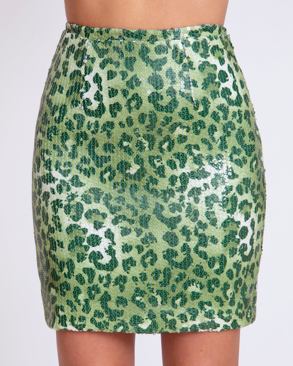 Green Shiny Leopard Sequin Skirt