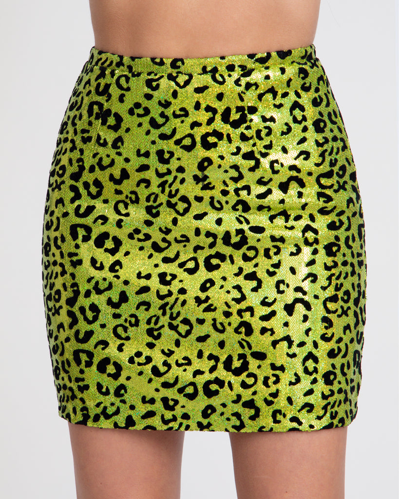 Holographic Leopard Sequin Mini Skirt - Green