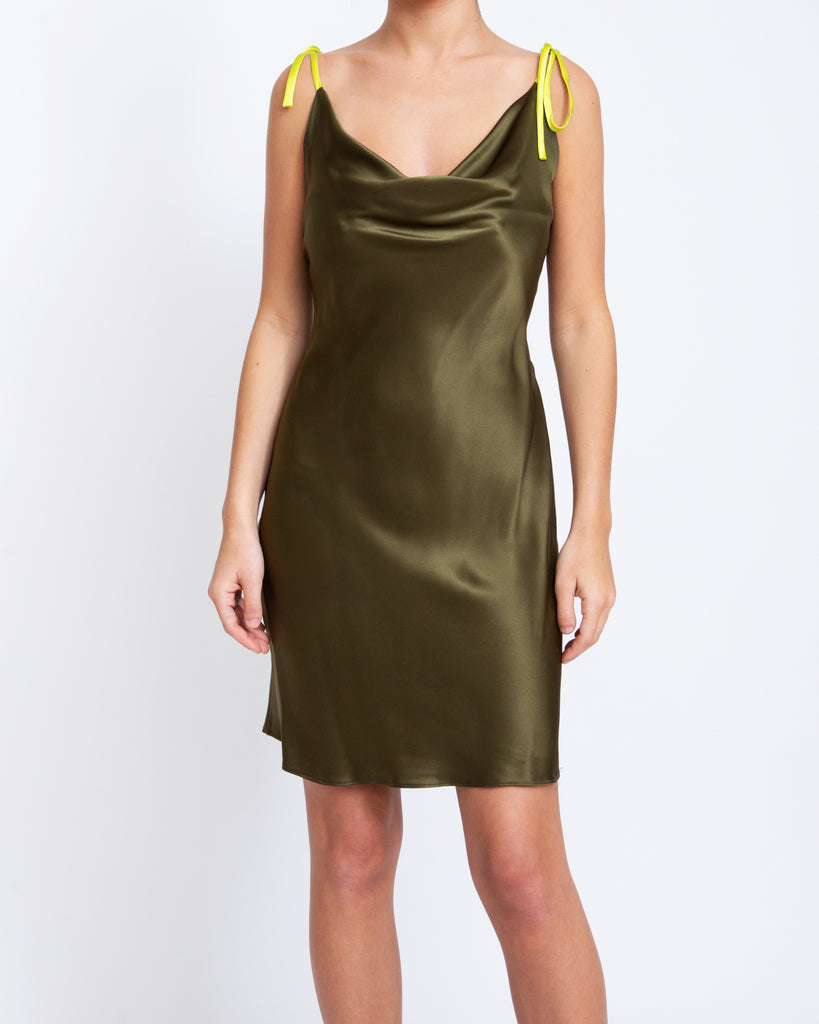 Two-Tone Cowl Neck Slip Dress - Olive
