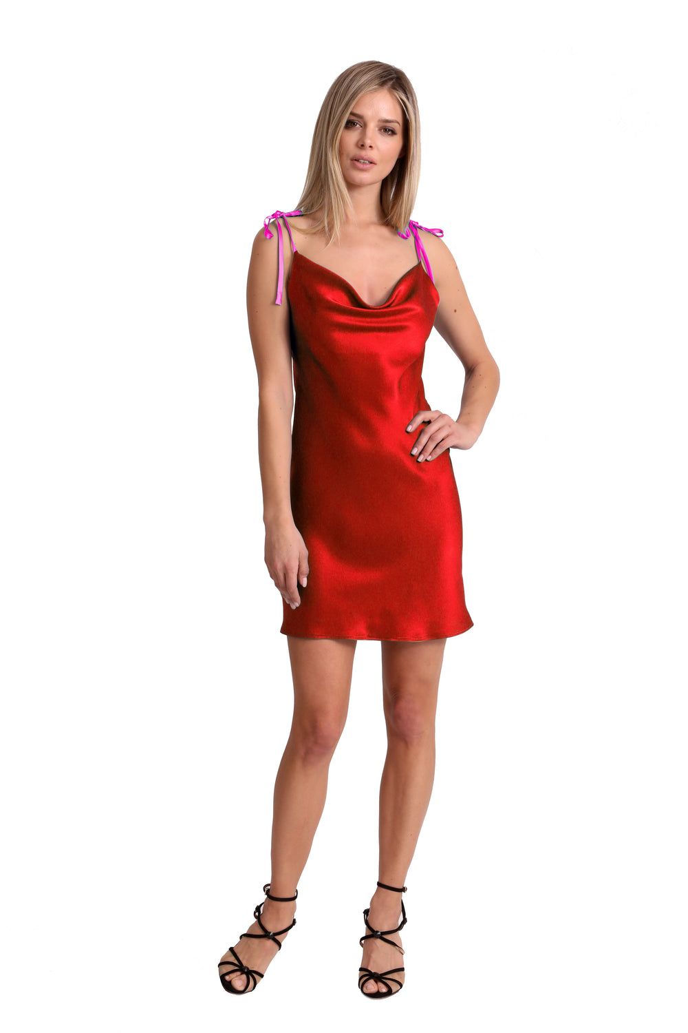 Two-Tone Cowl Neck Slip Dress - Red