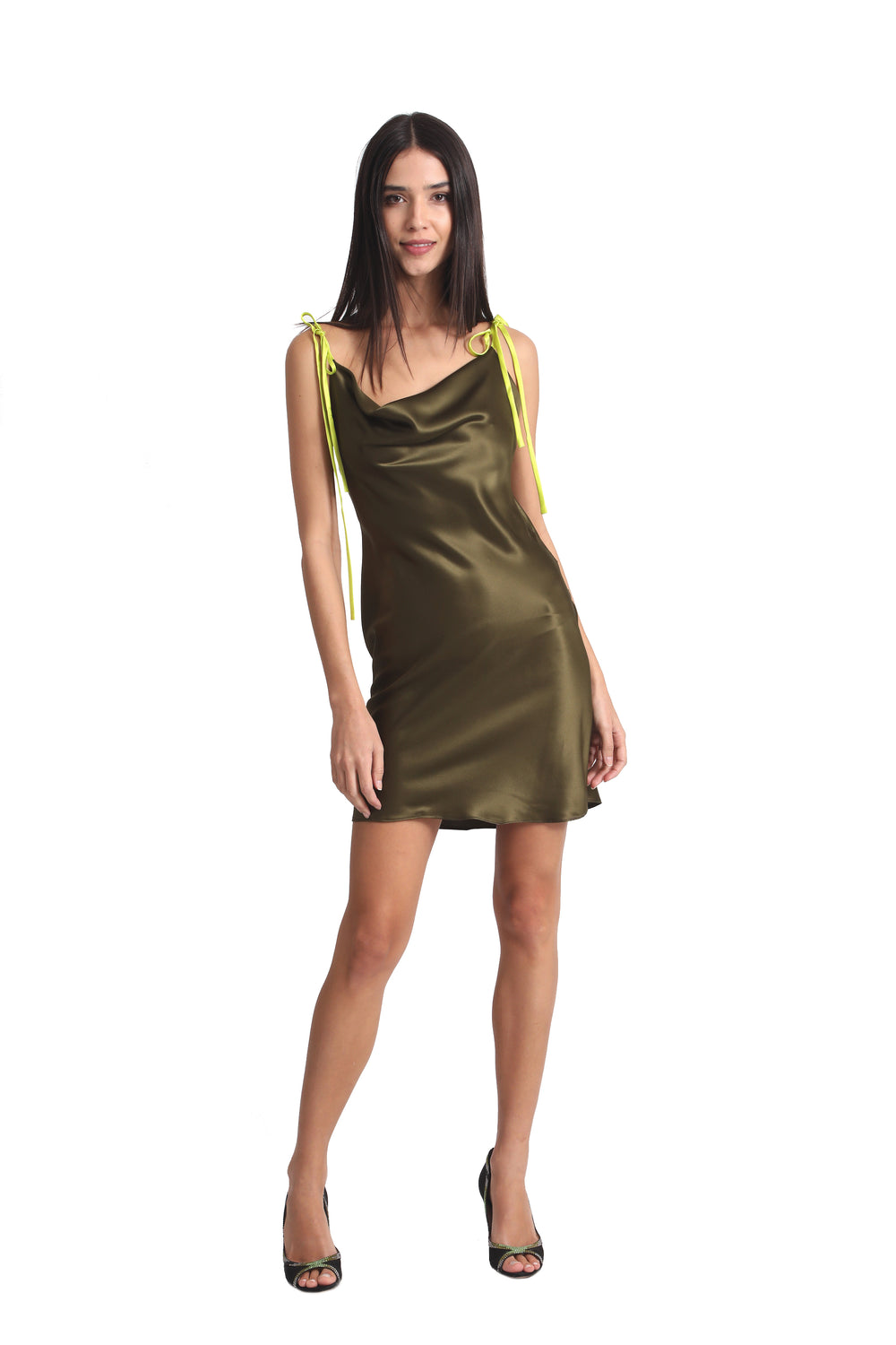 Just Drew Two-Tone Cowl Neck Silk Slip Dress in Olive