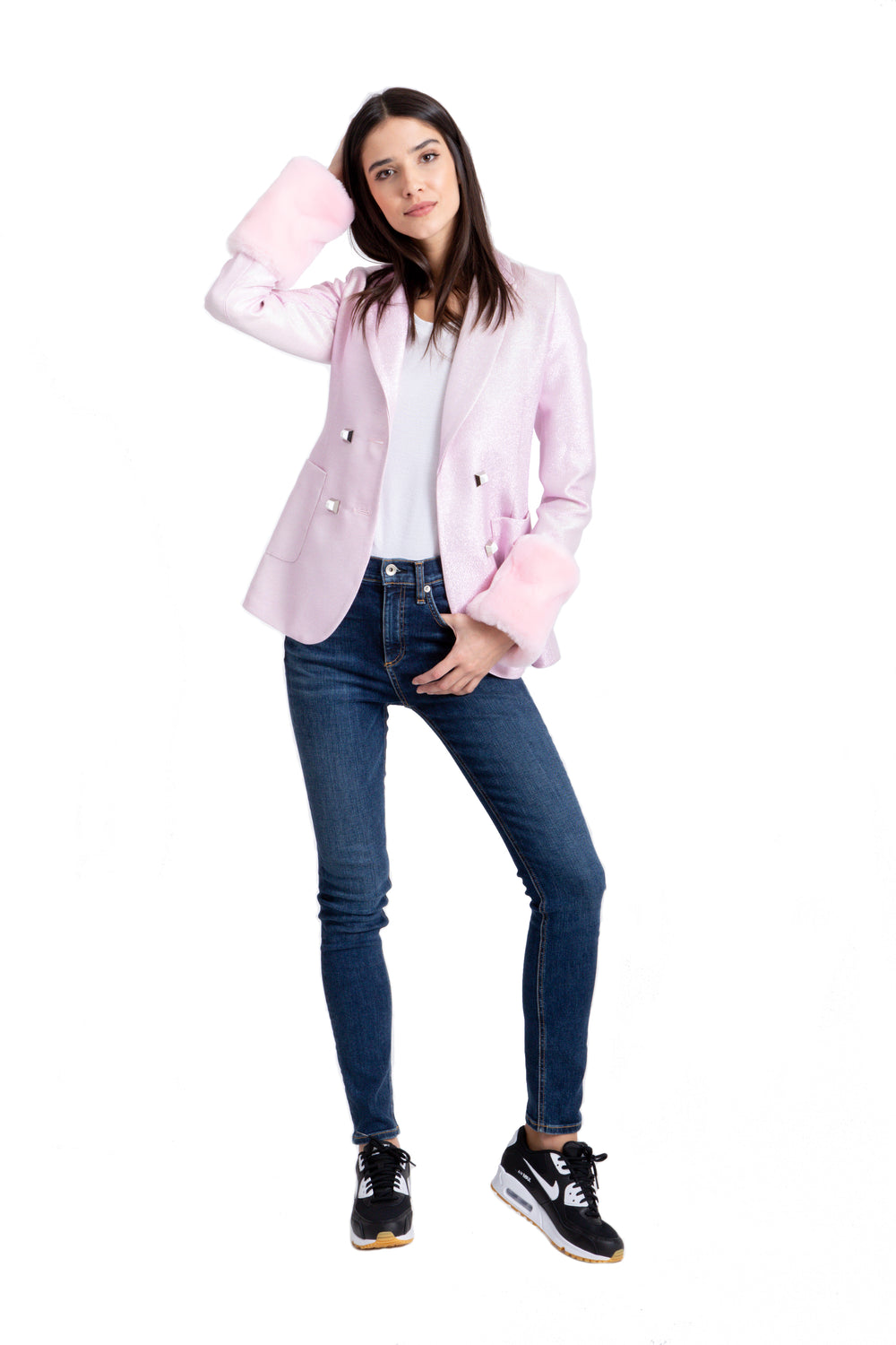 Pink Blazer With Detachable Faux Fur Cuffs