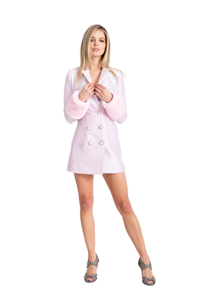 Pink Blazer Dress With Detachable Faux Fur Cuffs