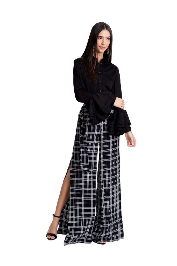 Just Drew Black And White Plaid Pant With Side Slits