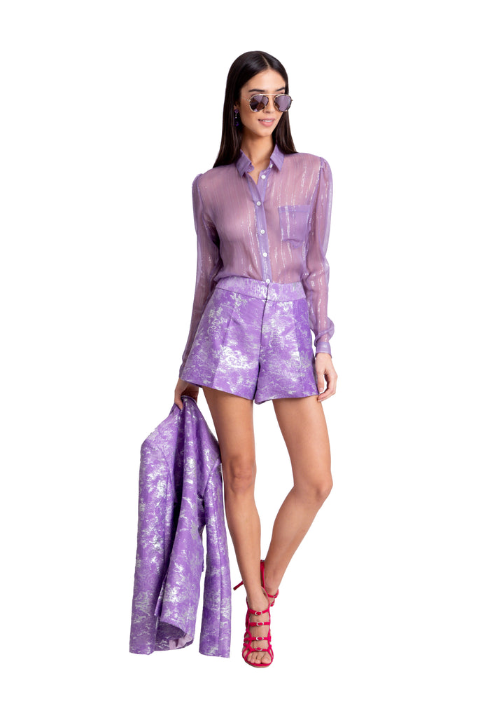 Just Drew Purple Lurex Blouse And Purple Jacquard Shorts