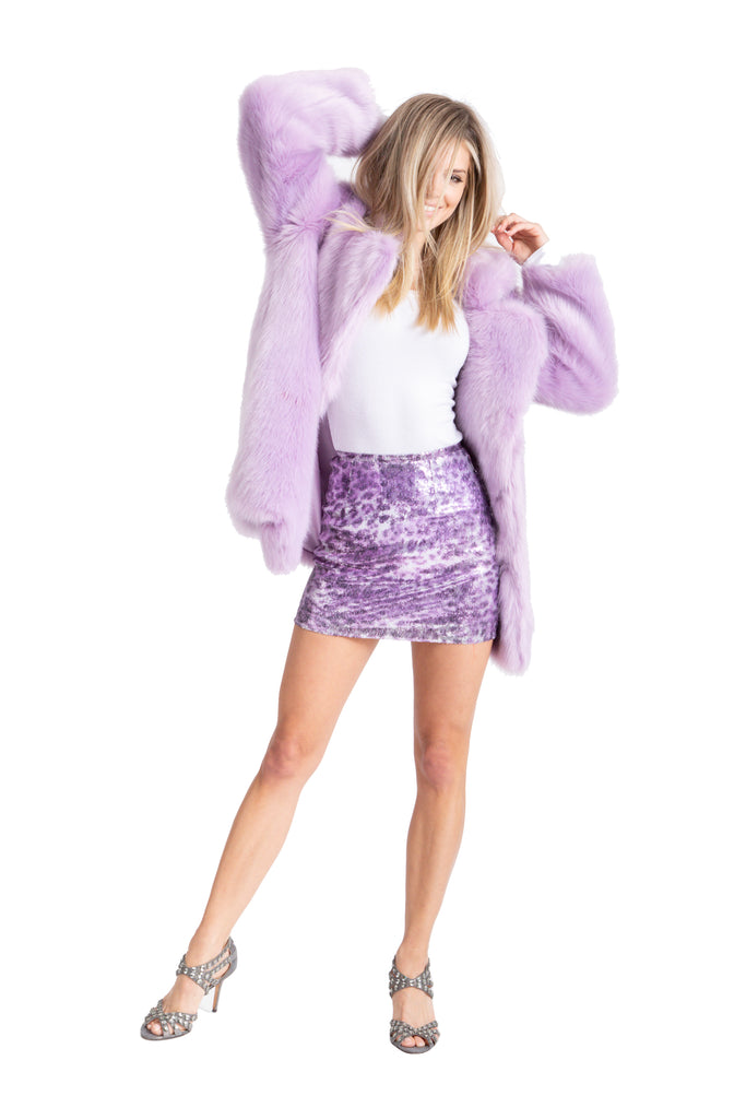 Purple Leopard Sequin Mini Skirt