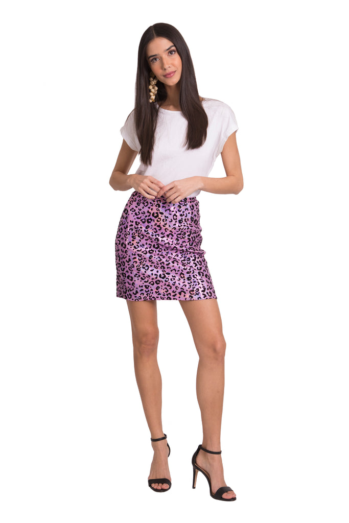 Holographic Leopard Sequin Mini Skirt - Pink
