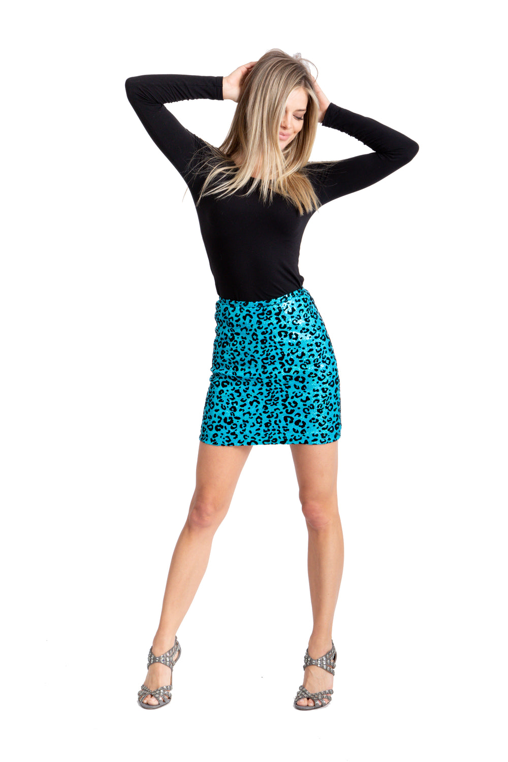 Just Drew Turquoise Leopard Sequin Mini Skirt