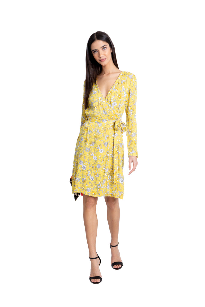 Just Drew Yellow Floral Wrap Dress