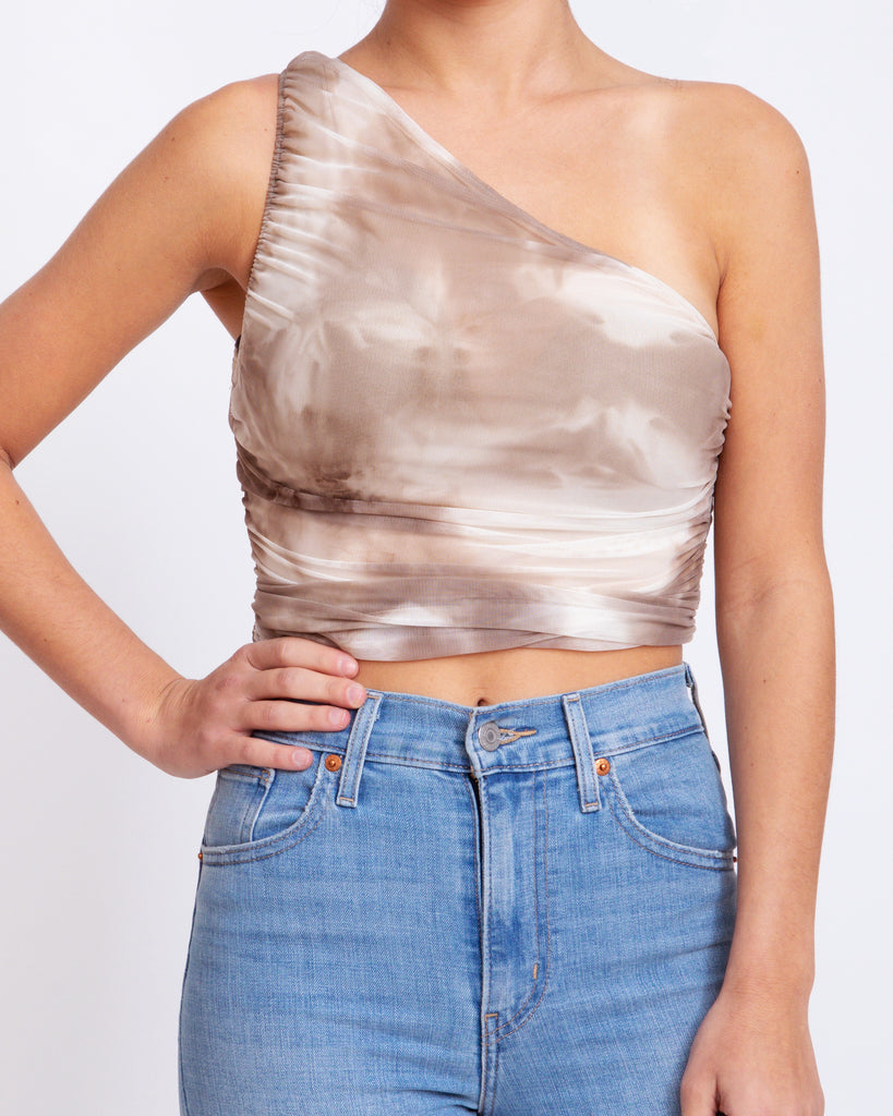 One Shoulder Tie Dye Stretch Top