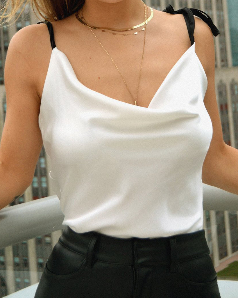 White Cowl Neck Silk Cami