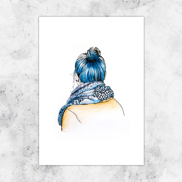 Blue Hair Don't Care Giclee Art Print