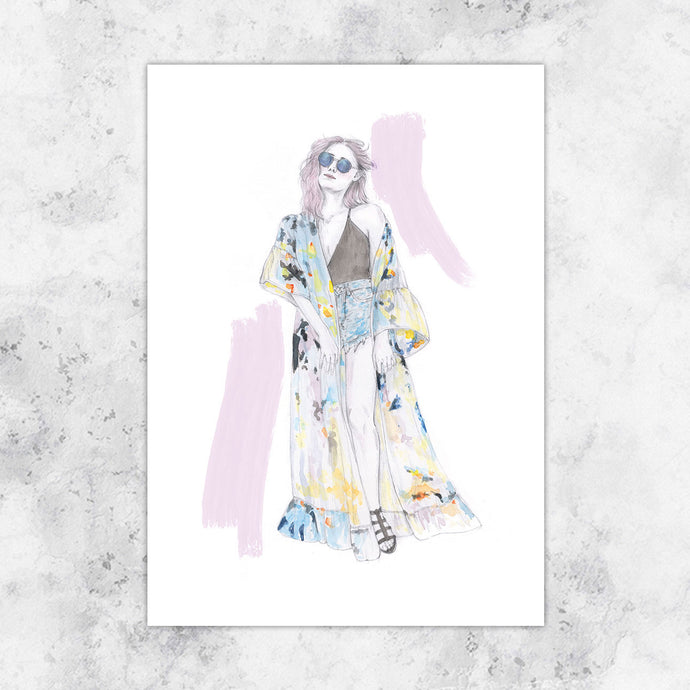 Boho Fashion Illustration Art Print