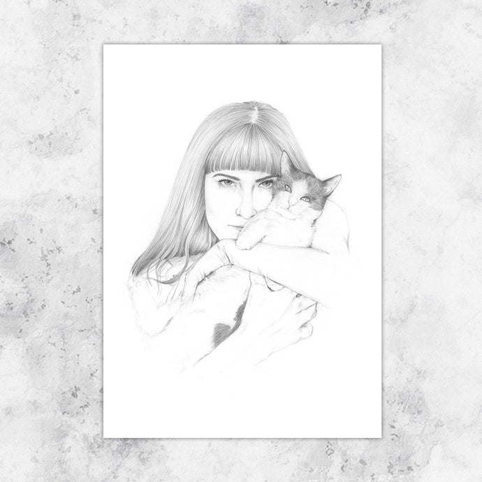 Cat Lady Embrace Art Print