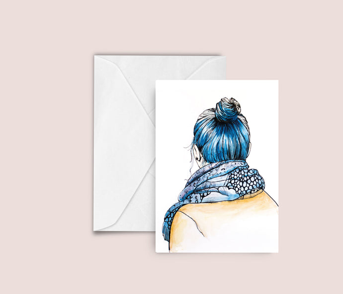 Blue hair blank greeting card