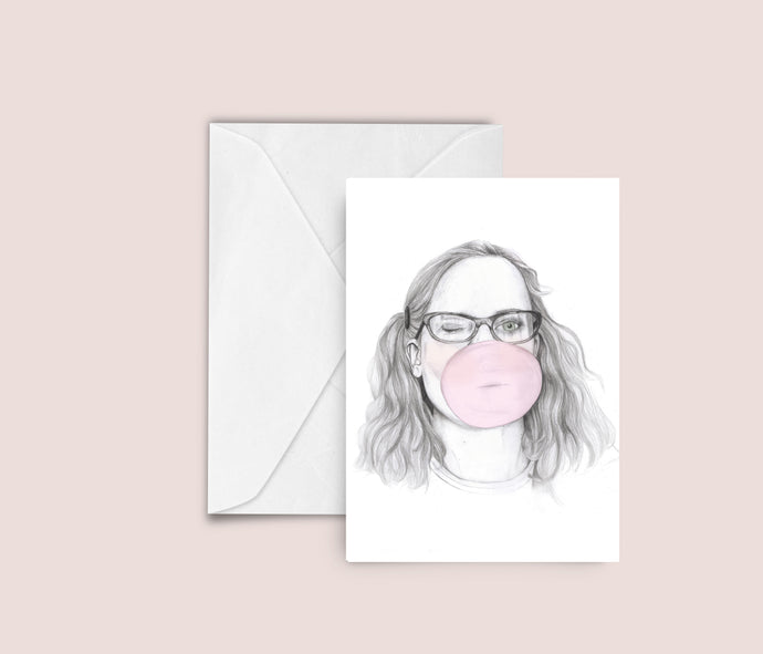 Bubblegum fashion illustration blank greeting card