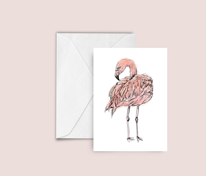 Flamingo illustration blank greeting card