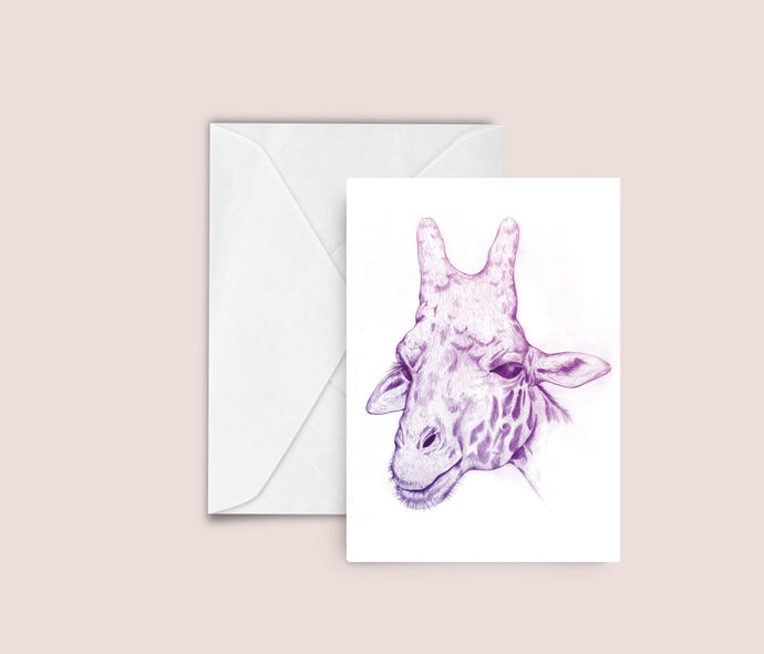 Funky Giraffe illustration blank greeting card