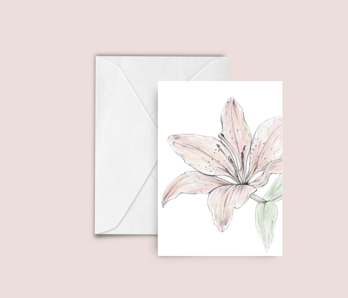 Lily illustration blank greeting card