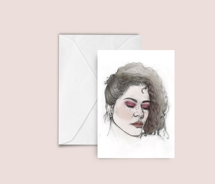Nicole fashion illustration blank greeting card