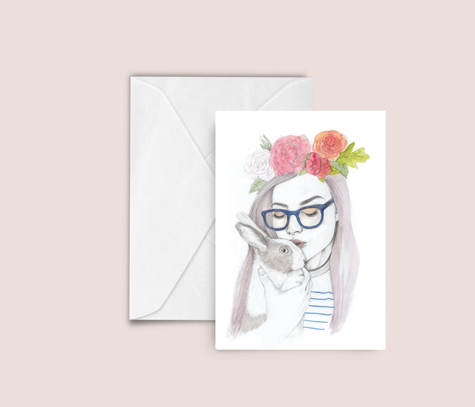 Woman / Rabbit fashion illustration blank greeting card