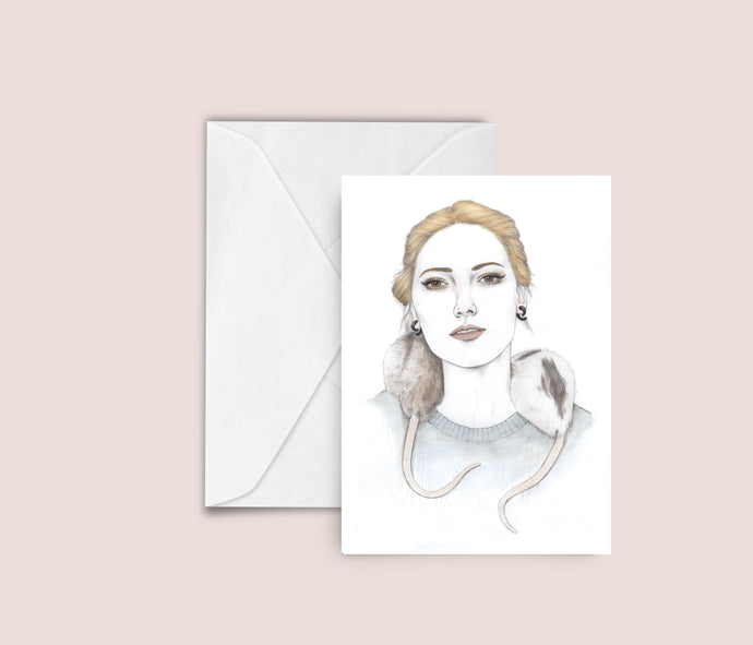 Woman / Rats fashion illustration blank greeting card