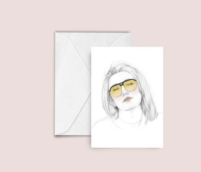 Yellow sunglasses fashion illustration blank greeting card