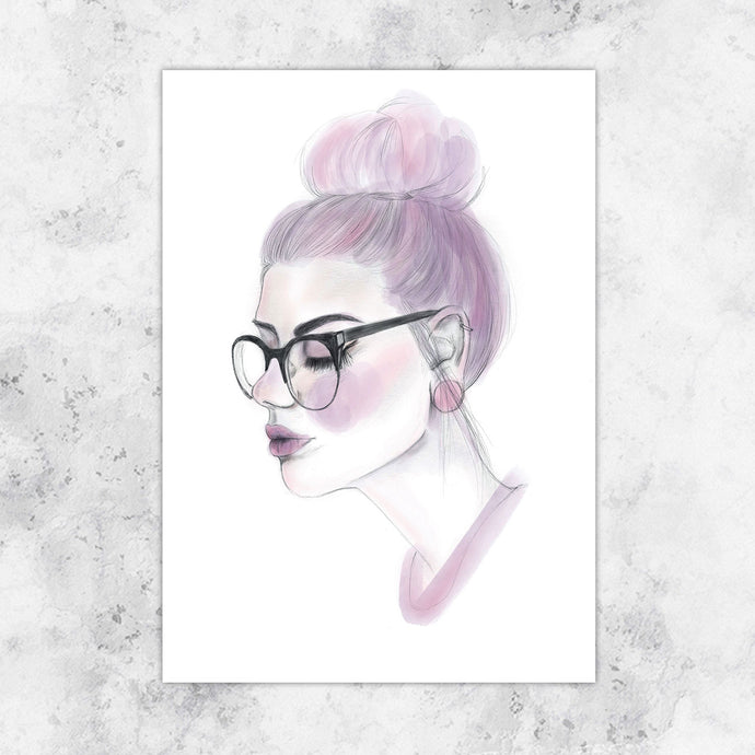 Pink Hair Don't Care Giclee Art Print