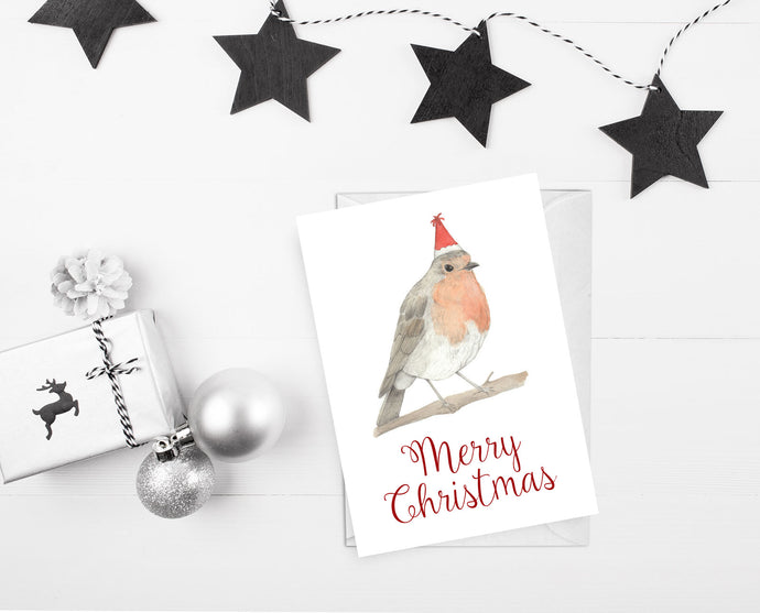 Christmas card robin illustration