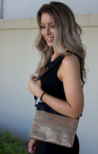 Cork Crossbody Bag/Clutch - Antique Gold *MADE TO ORDER